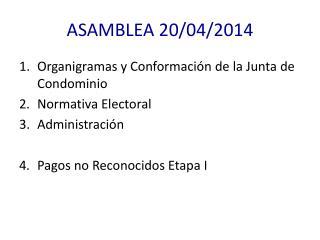ASAMBLEA 20/04/2014
