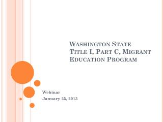 Washington State Title I, Part C, Migrant Education Program