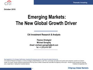 Emerging Markets: The New Global Growth Driver