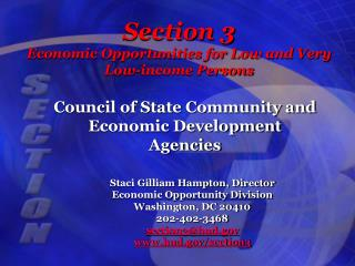 Section 3 Economic Opportunities for Low and Very Low-income Persons