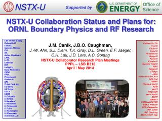 NSTX-U Collaboration Status and Plans for: ORNL Boundary Physics and RF Research