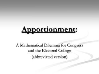 Apportionment: