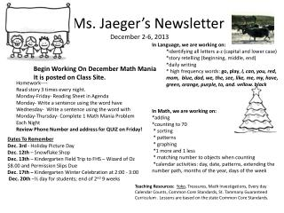 Ms. Jaeger's Newsletter December 2-6, 2013