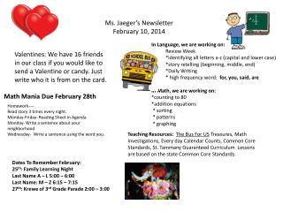 Ms. Jaeger's Newsletter February 10, 2014