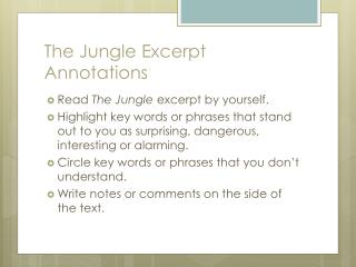 The Jungle Excerpt Annotations