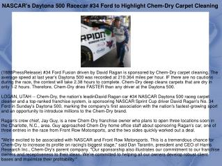 NASCAR's Daytona 500 Racecar #34 Ford to Highlight Chem-Dry
