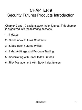 CHAPTER 9 Security Futures Products Introduction
