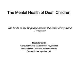 Nicoletta Gentili Consultant Child & Adolescent Psychiatrist