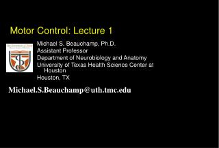 Motor Control: Lecture 1