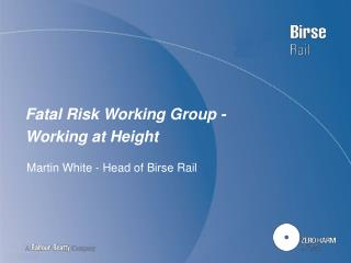 Fatal Risk Working Group - Working at Height