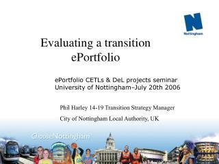 Evaluating a transition  ePortfolio