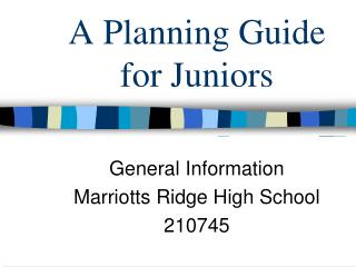 A Planning Guide for Juniors