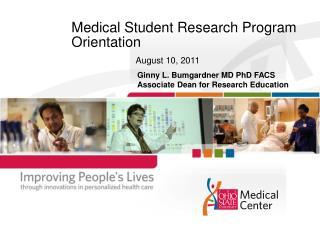 Medical Student Research Program Orientation