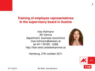 Training  of employee representatives In  the supervisory board  in Austria Ines Hofmann