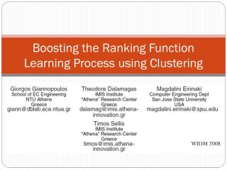 Boosting the Ranking Function Learning Process using Clustering