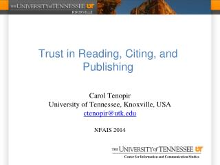 Trust in Reading, Citing, and Publishing