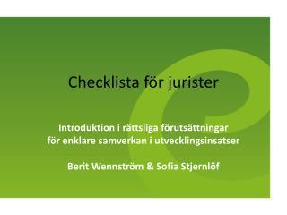 Checklista  för jurister