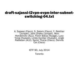 draft-sajassi-l2vpn-evpn-inter-subnet-switching-04.txt