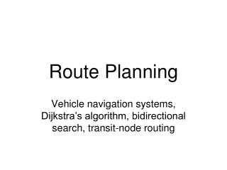 Route Planning