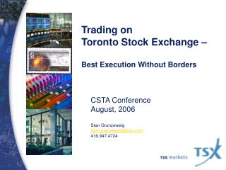 Trading on Toronto Stock Exchange    Best Execution Without Borders