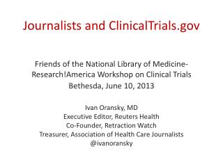 Journalists and ClinicalTrials