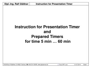 Instruction for Presentation Timer  and  Prepared Timers  for time 5 min … 60 min