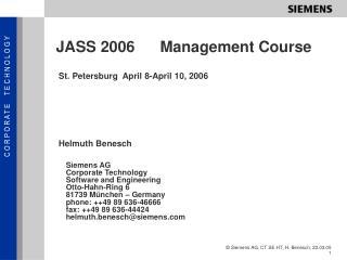 JASS 2006Management Course