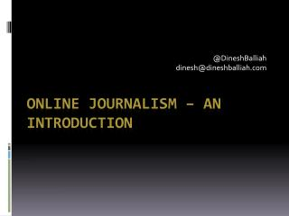 Online journalism – an introduction