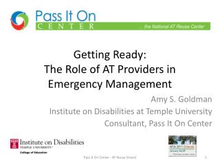 Getting Ready:   The Role of AT Providers in Emergency Management