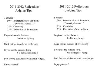 2011-2012  Reflections               Judging Tips 3 criteria:
