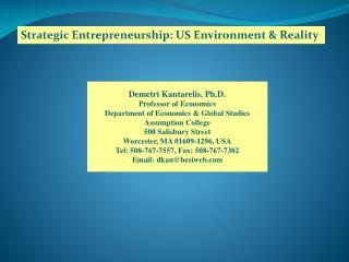 Strategic Entrepreneurship: US Environment & Reality