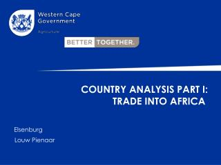 Country Analysis Part I:  Trade into Africa