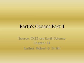 Earth's Oceans Part II