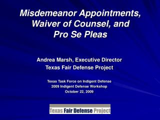 Misdemeanor Appointments, Waiver of Counsel, and  Pro Se Pleas