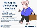 Managing the Feeding Program
