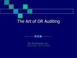 The Art of DR Auditing