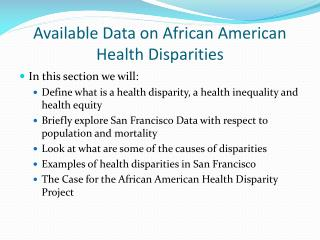 Available Data on African American Health Disparities