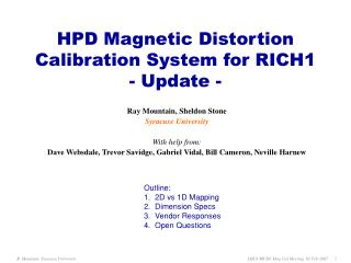 HPD Magnetic Distortion Calibration System for RICH1 - Update -