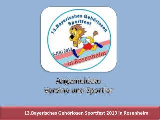 13.Bayerisches Geh�rlosen Sportfest 2013 in Rosenheim