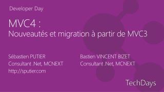 MVC4  :  Nouveautés  et migration à partir de MVC3