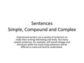 Sentences Simple, Compound and Complex