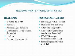 REALISMO FRENTE A POSROMANTICISMO