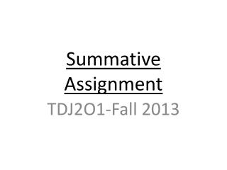 Summative  Assignment