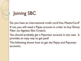 Joining SBC