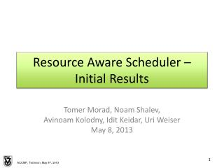 Resource Aware Scheduler – Initial Results