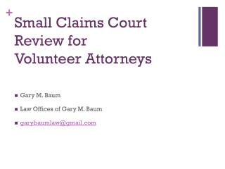 Small Claims Court Review for  Volunteer Attorneys