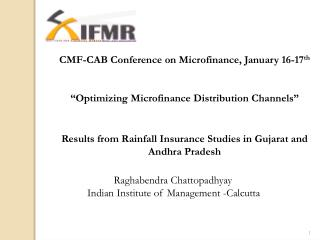 CMF-CAB Conference on Microfinance, January 16-17 th
