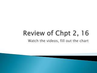 Review of  Chpt  2, 16