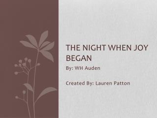 The Night When Joy Began