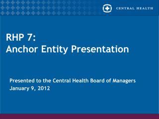 RHP 7: Anchor Entity Presentation